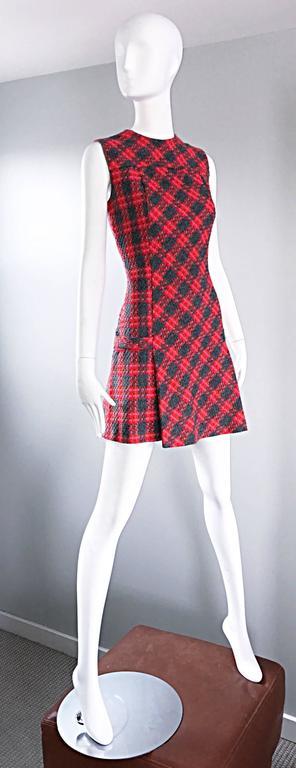 Rare 1960s Beau Time Pink + Orange + Red + Grey Plaid A - Line Vintage Mod Dress 5