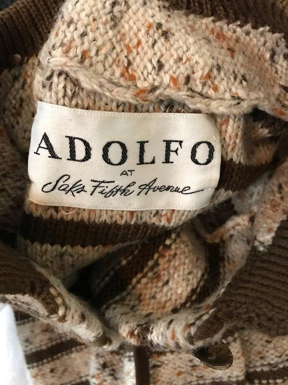 Vintage Adolfo For Saks 5th Ave Brown + Ivory 70s Belted Cardigan Jacket Sweater 10