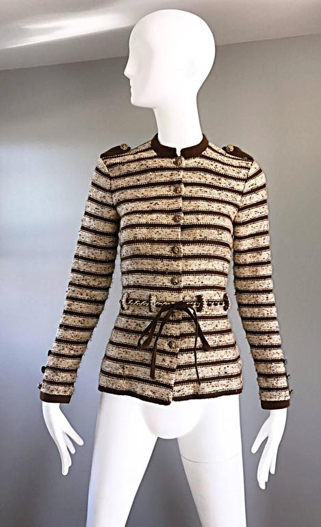 Vintage Adolfo For Saks 5th Ave Brown + Ivory 70s Belted Cardigan Jacket Sweater 2