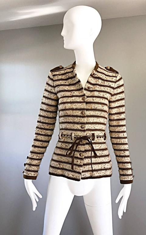 Vintage Adolfo For Saks 5th Ave Brown + Ivory 70s Belted Cardigan Jacket Sweater 3