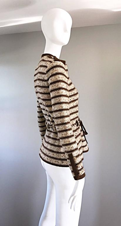 Vintage Adolfo For Saks 5th Ave Brown + Ivory 70s Belted Cardigan Jacket Sweater 7