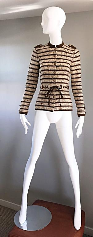Vintage Adolfo For Saks 5th Ave Brown + Ivory 70s Belted Cardigan Jacket Sweater 8