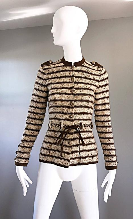 Vintage Adolfo For Saks 5th Ave Brown + Ivory 70s Belted Cardigan Jacket Sweater 9