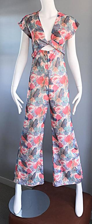 Amazing 1970s Vintage Cut - Out Waist 70s Abstract Wrap Flared Leg Jumpsuit  2