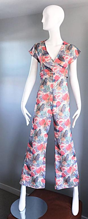 Amazing 1970s Vintage Cut - Out Waist 70s Abstract Wrap Flared Leg Jumpsuit  3
