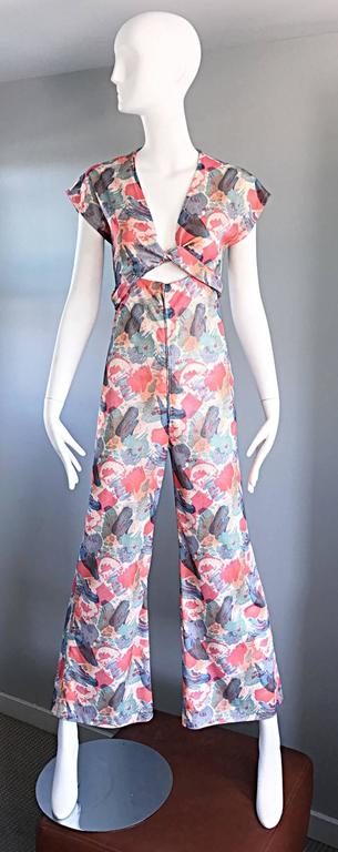 Amazing 1970s Vintage Cut - Out Waist 70s Abstract Wrap Flared Leg Jumpsuit  7