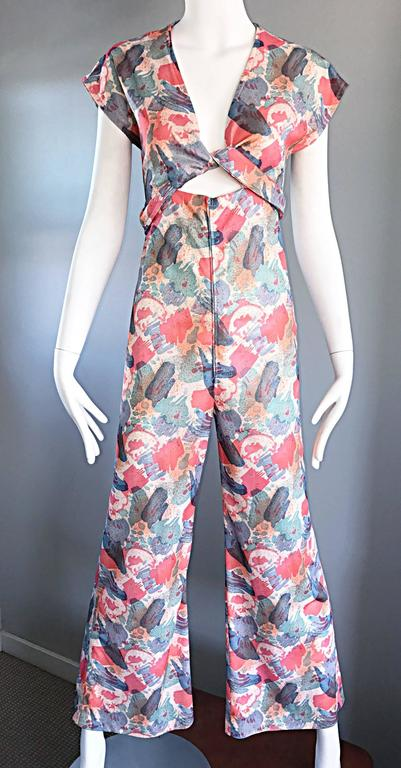 Amazing 1970s Vintage Cut - Out Waist 70s Abstract Wrap Flared Leg Jumpsuit  4