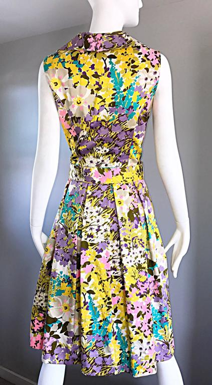 Tori Richard 1960s Flower Printed Vintage Hawaiian 60s / 70s Belted Shirt Dress  9