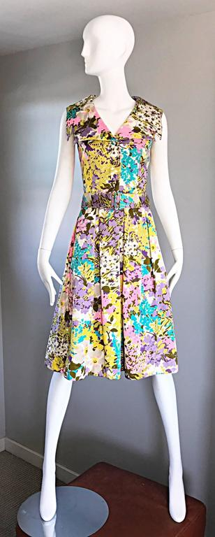 Tori Richard 1960s Flower Printed Vintage Hawaiian 60s / 70s Belted Shirt Dress  8