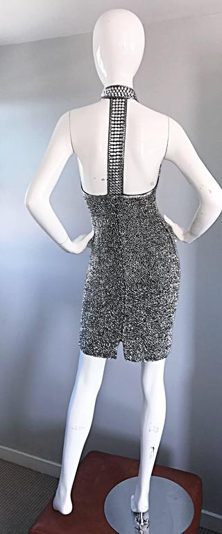 Women's Vintage LILLIE RUBIN 90s Heavily Beaded Sz 2 Sexy Black + Silver Bondage Dress  For Sale