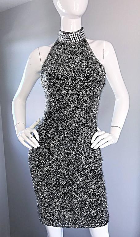 Vintage LILLIE RUBIN 90s Heavily Beaded Sz 2 Sexy Black + Silver Bondage Dress  For Sale 3