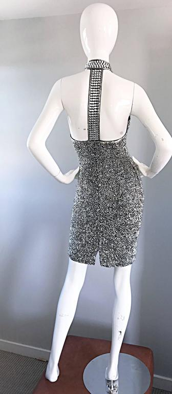 Vintage LILLIE RUBIN 90s Heavily Beaded Sz 2 Sexy Black + Silver Bondage Dress  For Sale 5