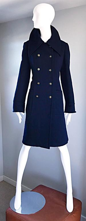1970s SAKS 5th AVENUE Navy Blue Double Breasted Long Wool Peacoat Jacket Coat 2
