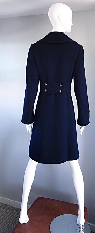 1970s SAKS 5th AVENUE Navy Blue Double Breasted Long Wool Peacoat Jacket Coat 3
