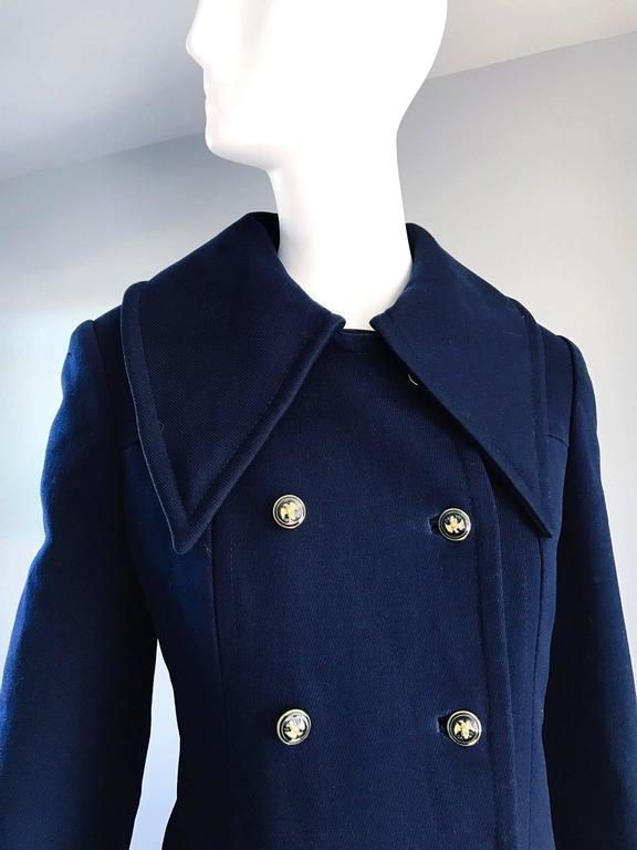 1970s SAKS 5th AVENUE Navy Blue Double Breasted Long Wool Peacoat Jacket Coat 4