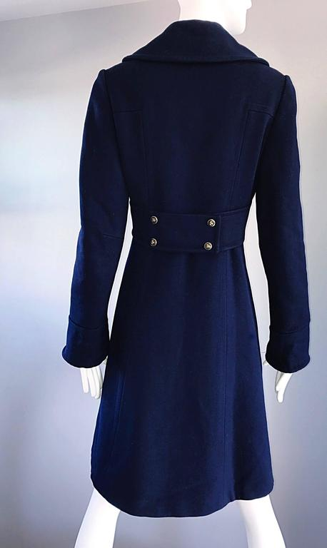 1970s SAKS 5th AVENUE Navy Blue Double Breasted Long Wool Peacoat Jacket Coat 8