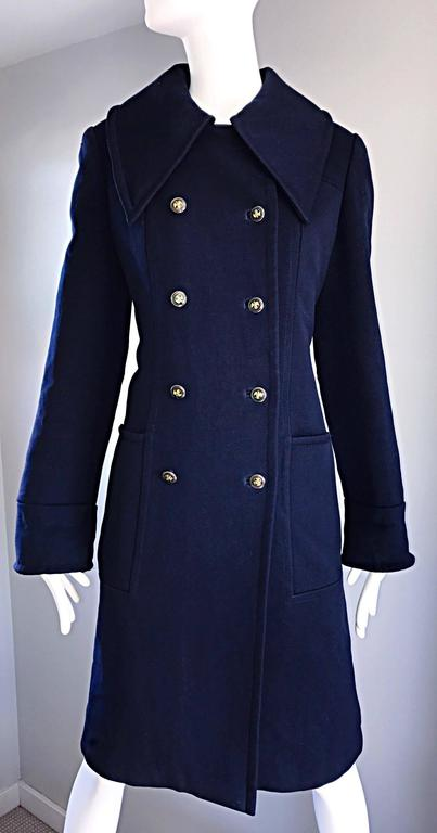 1970s SAKS 5th AVENUE Navy Blue Double Breasted Long Wool Peacoat Jacket Coat 9