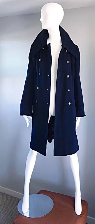 1970s SAKS 5th AVENUE Navy Blue Double Breasted Long Wool Peacoat Jacket Coat 6
