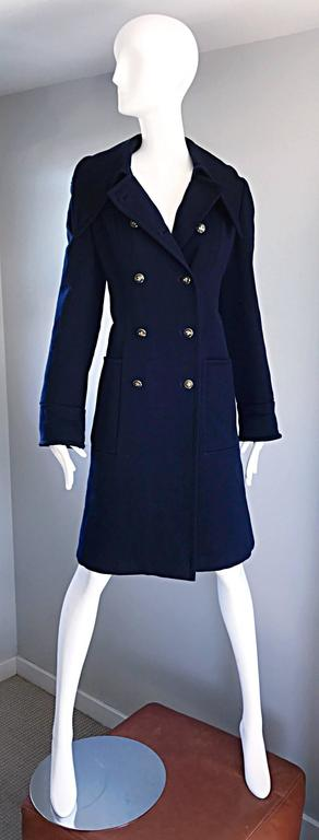 1970s SAKS 5th AVENUE Navy Blue Double Breasted Long Wool Peacoat Jacket Coat 5