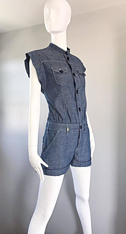 Missoni Denim Blue Jean One Piece Avant Garde Romper Onesie Playsuit Jumpsuit In Excellent Condition For Sale In San Francisco, CA