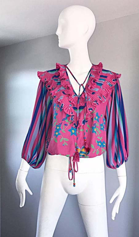 Diane Freis Vintage Pink Boho Flower and Stripes Beaded Tassel Blouse Shirt Top In Excellent Condition For Sale In San Francisco, CA
