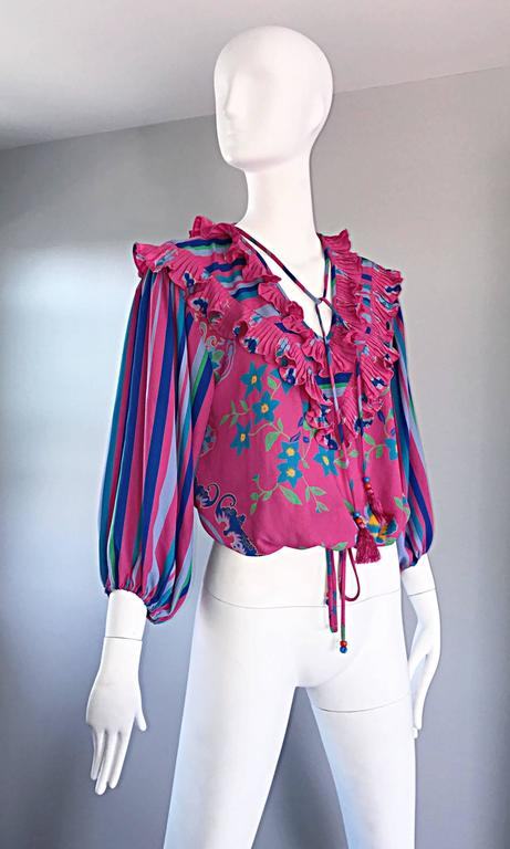 Diane Freis Vintage Pink Boho Flower and Stripes Beaded Tassel Blouse Shirt Top For Sale 1