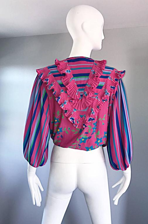 Diane Freis Vintage Pink Boho Flower and Stripes Beaded Tassel Blouse Shirt Top For Sale 2