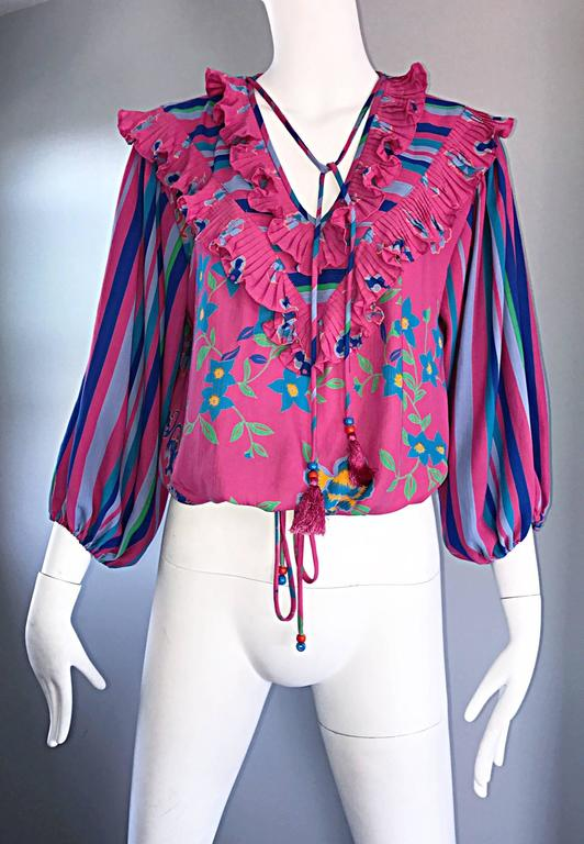 Diane Freis Vintage Pink Boho Flower and Stripes Beaded Tassel Blouse Shirt Top For Sale 5