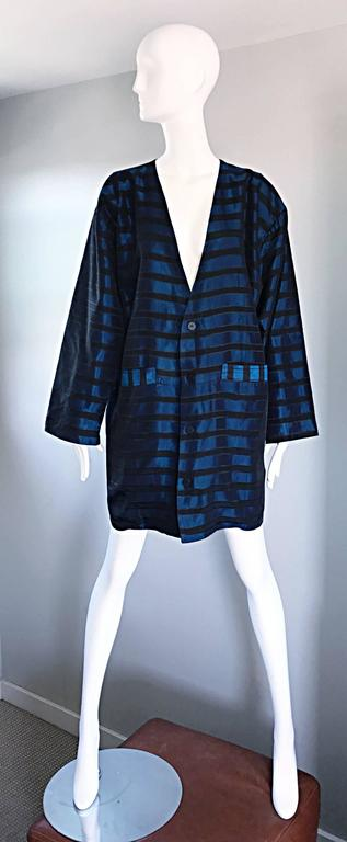 Rare Vintage Todd Oldham 1990s Blue and Black Striped Silk Cocoon Cocoon Jacket  2