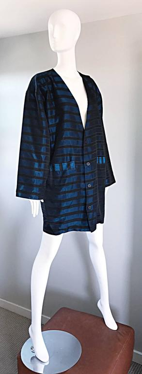 Rare Vintage Todd Oldham 1990s Blue and Black Striped Silk Cocoon Cocoon Jacket  3