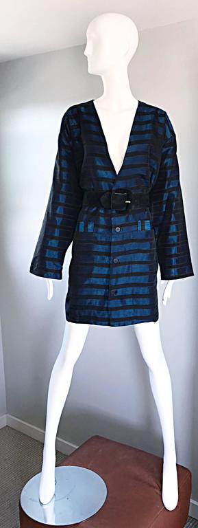 Rare Vintage Todd Oldham 1990s Blue and Black Striped Silk Cocoon Cocoon Jacket  4