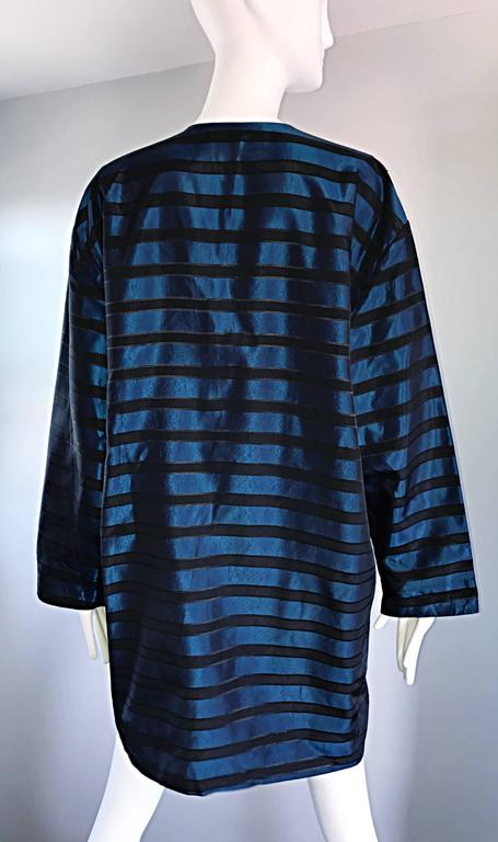 Rare Vintage Todd Oldham 1990s Blue and Black Striped Silk Cocoon Cocoon Jacket  5