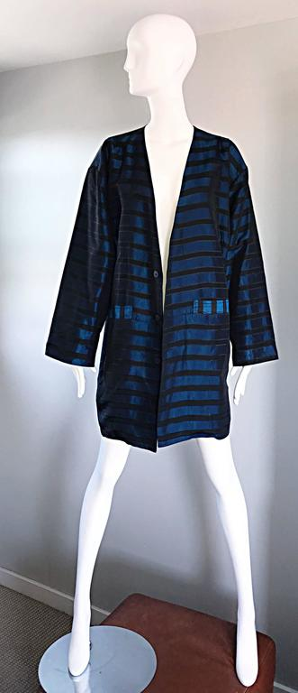 Rare Vintage Todd Oldham 1990s Blue and Black Striped Silk Cocoon Cocoon Jacket  6