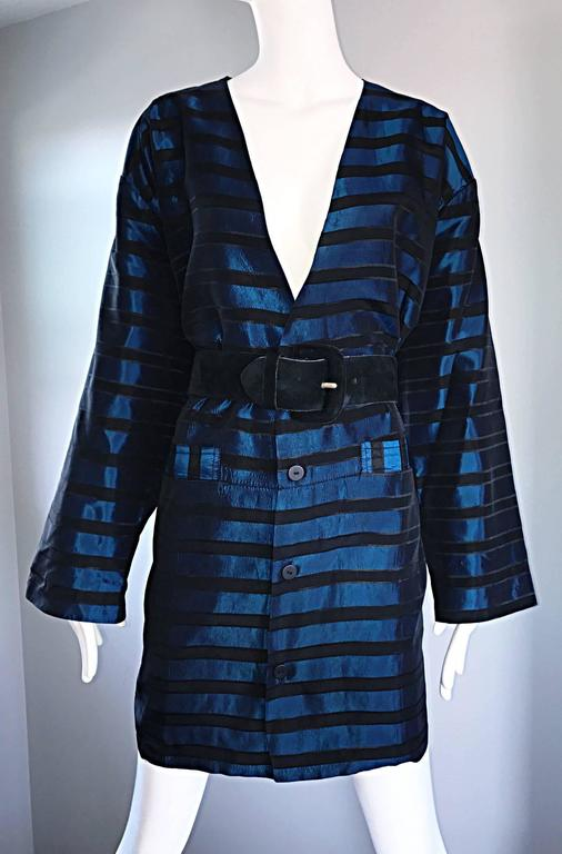 Rare Vintage Todd Oldham 1990s Blue and Black Striped Silk Cocoon Cocoon Jacket  8