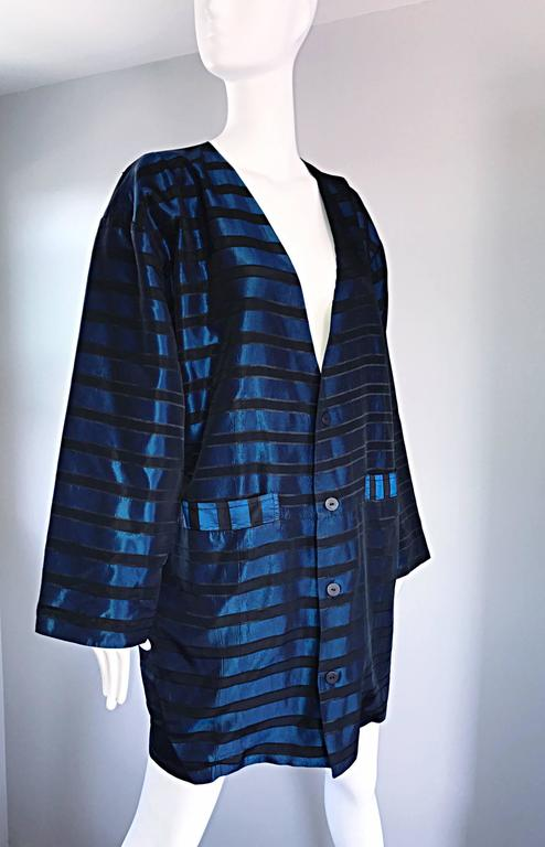 Rare Vintage Todd Oldham 1990s Blue and Black Striped Silk Cocoon Cocoon Jacket  9