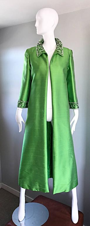 Amazing 1960s Vintage Green Silk Shantung Beaded Long Evening Opera Coat Jacket 2