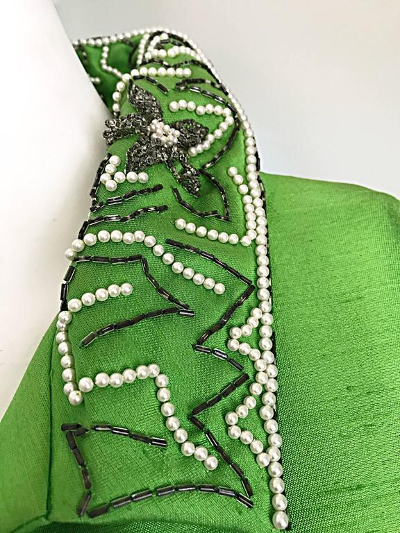 Amazing 1960s Vintage Green Silk Shantung Beaded Long Evening Opera Coat Jacket 4