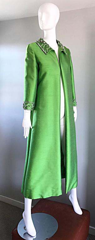 Amazing 1960s Vintage Green Silk Shantung Beaded Long Evening Opera Coat Jacket 5