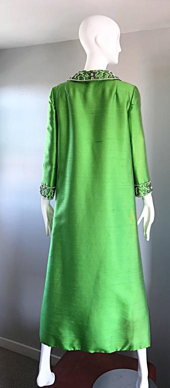 Amazing 1960s Vintage Green Silk Shantung Beaded Long Evening Opera Coat Jacket 6