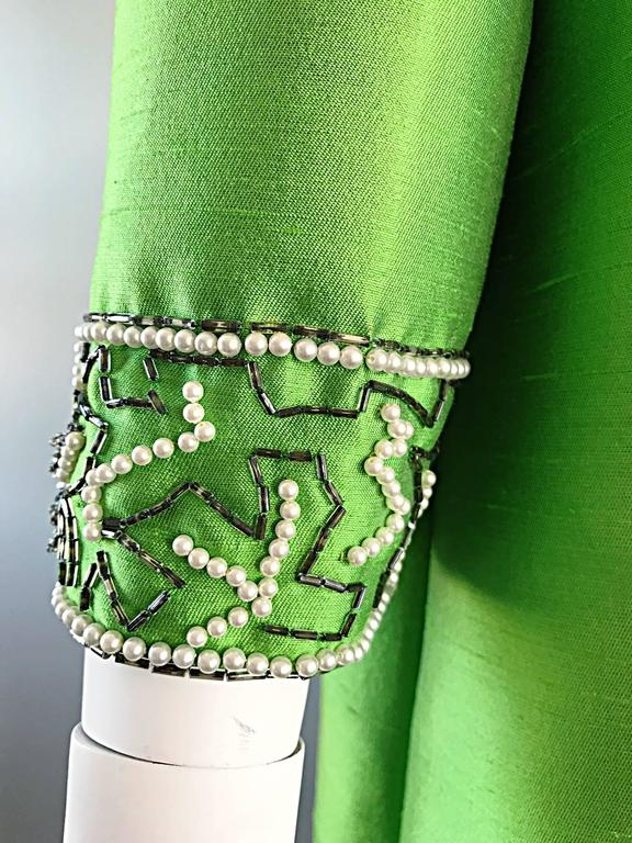 Amazing 1960s Vintage Green Silk Shantung Beaded Long Evening Opera Coat Jacket 7