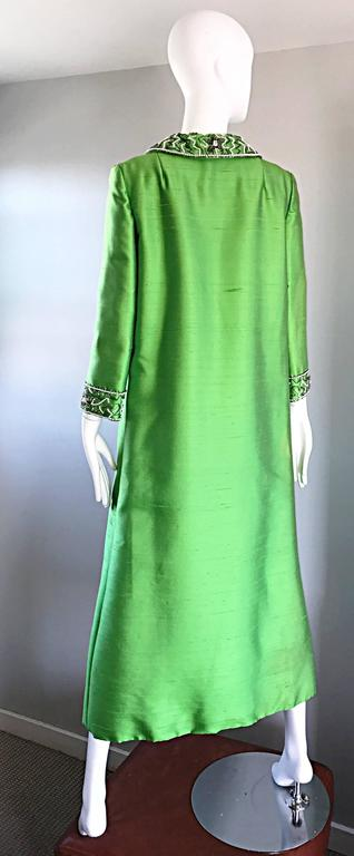 Amazing 1960s Vintage Green Silk Shantung Beaded Long Evening Opera Coat Jacket 8