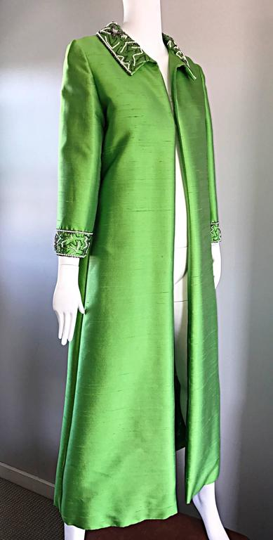 Amazing 1960s Vintage Green Silk Shantung Beaded Long Evening Opera Coat Jacket 9