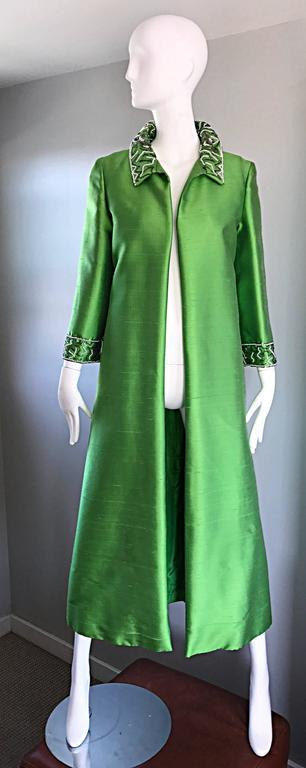 Amazing 1960s Vintage Green Silk Shantung Beaded Long Evening Opera Coat Jacket 10