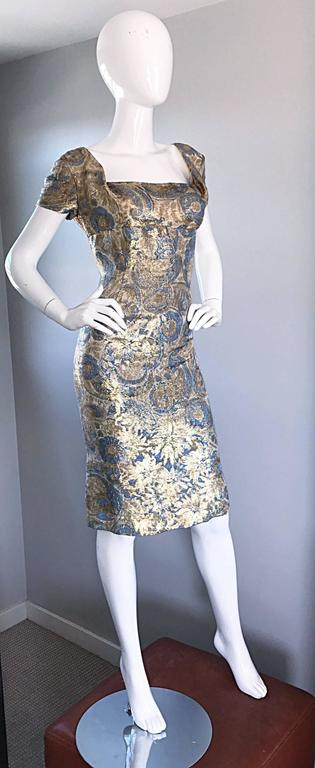 1950s Peggy Barton Couture Larger Size Gold Blue Silk