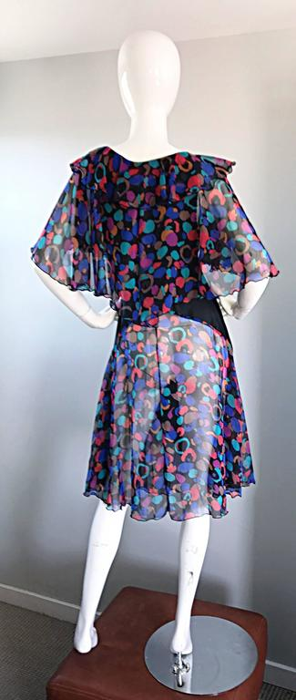 Bob Mackie Vintage 1980s Boho Colorful Black Semi Sheer Back Ruffle 80s Dress In Excellent Condition For Sale In San Francisco, CA
