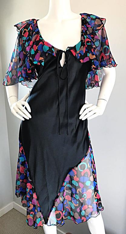 Bob Mackie Vintage 1980s Boho Colorful Black Semi Sheer Back Ruffle 80s Dress For Sale 1