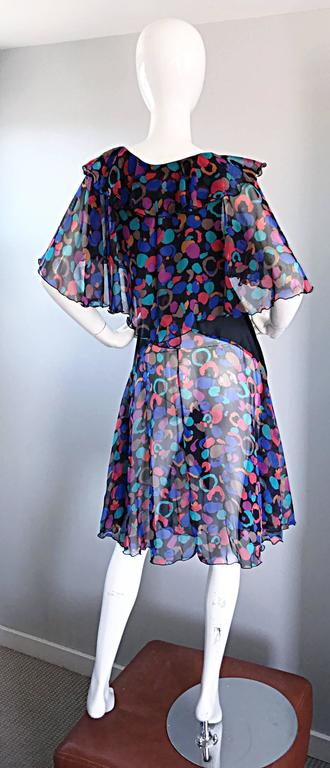 Bob Mackie Vintage 1980s Boho Colorful Black Semi Sheer Back Ruffle 80s Dress For Sale 2
