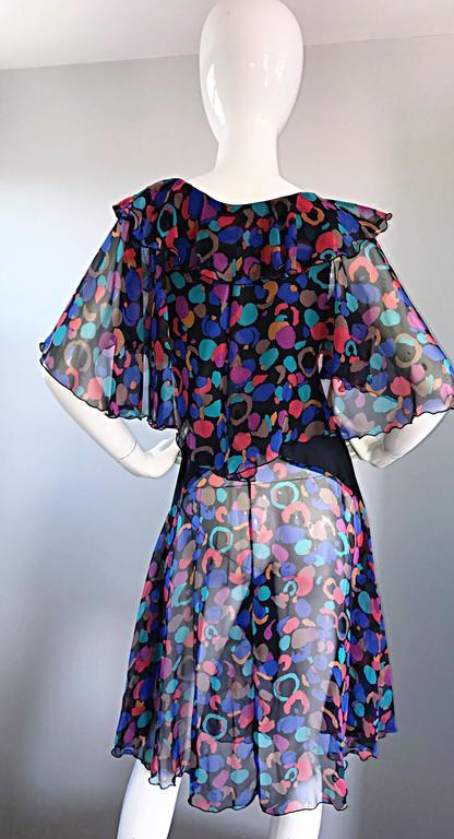 Bob Mackie Vintage 1980s Boho Colorful Black Semi Sheer Back Ruffle 80s Dress For Sale 4