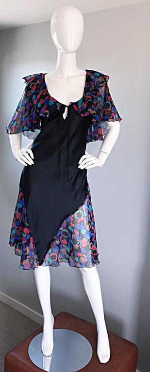 Bob Mackie Vintage 1980s Boho Colorful Black Semi Sheer Back Ruffle 80s Dress For Sale 5