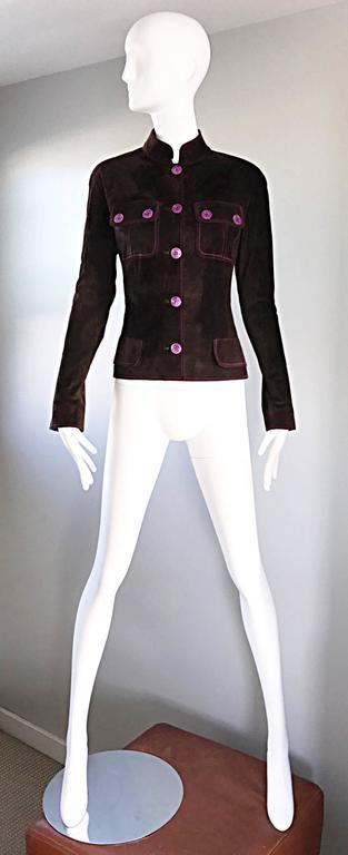 Vintage Emanuel Ungaro Leather Suede Chocolate Brown + Purple 1990s Moto Jacket 2